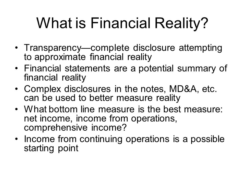 What is Financial Reality
