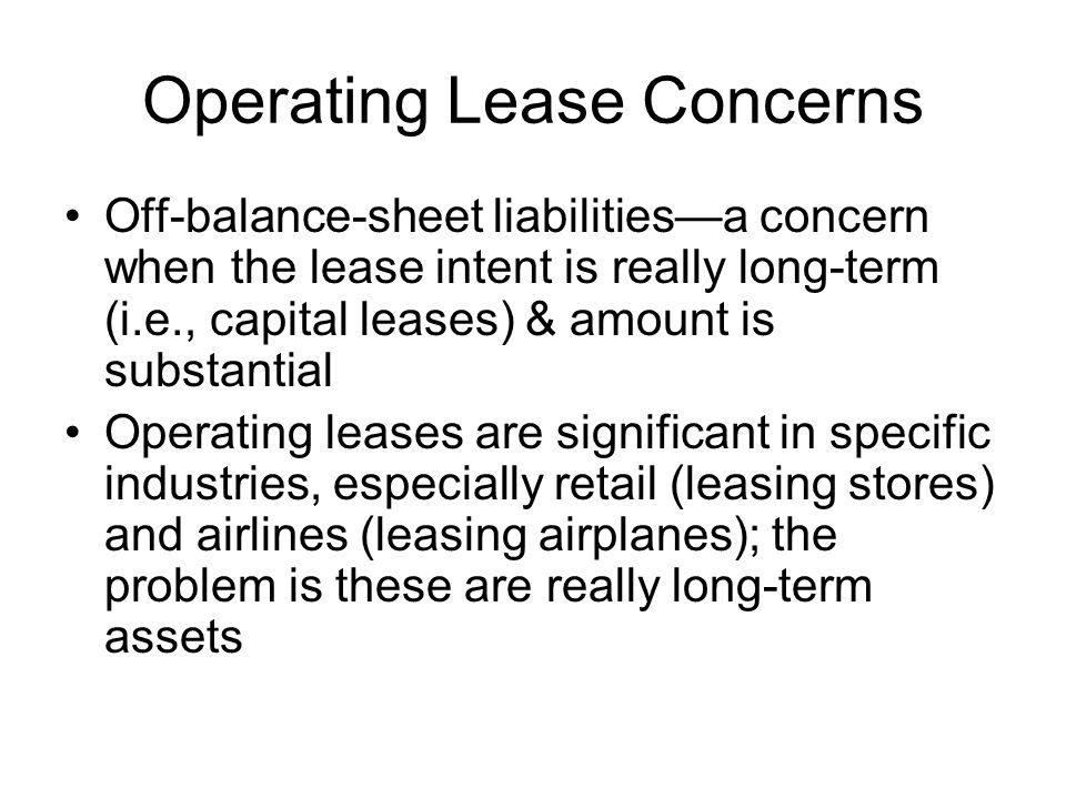Operating Lease Concerns