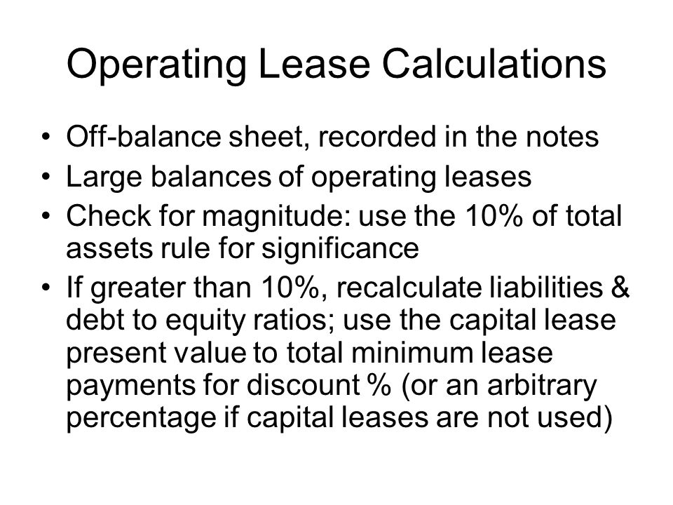 Operating Lease Calculations