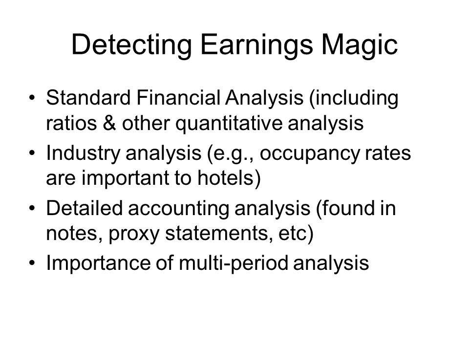Detecting Earnings Magic
