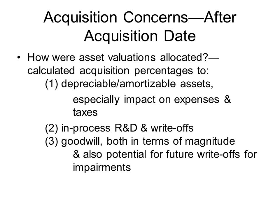 Acquisition Concerns—After Acquisition Date