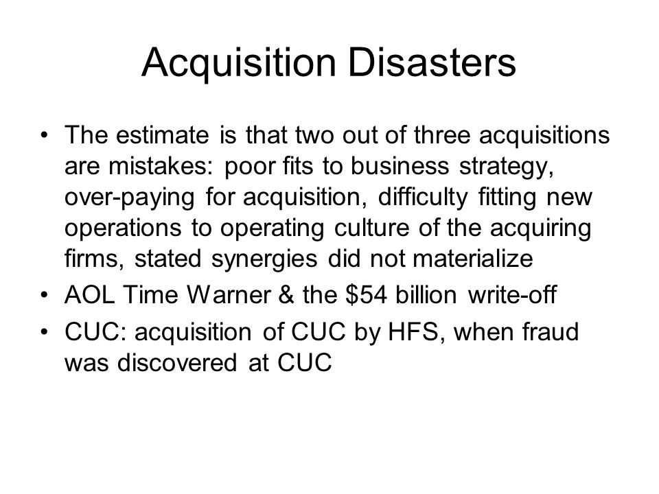 Acquisition Disasters