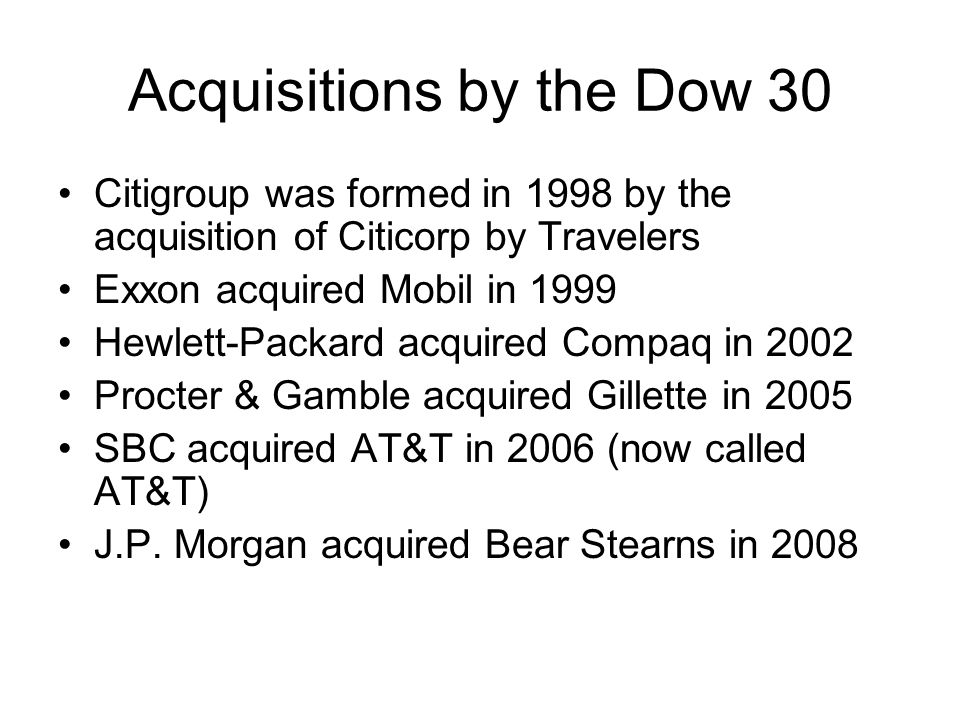 Acquisitions by the Dow 30
