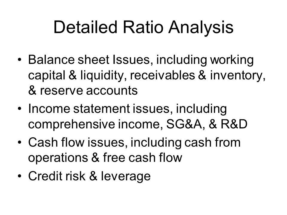 Detailed Ratio Analysis