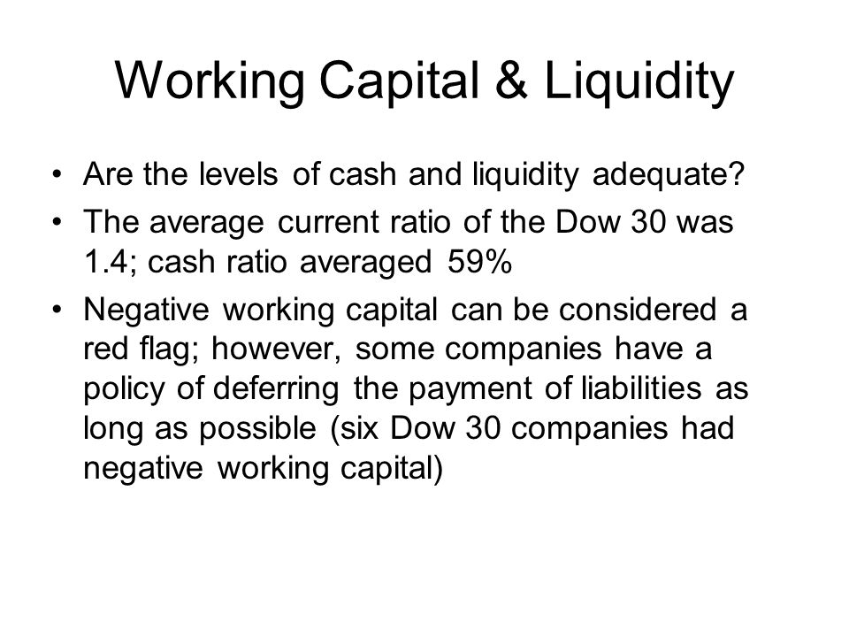 Working Capital & Liquidity