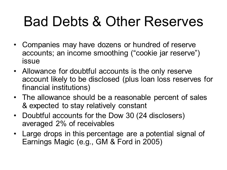 Bad Debts & Other Reserves