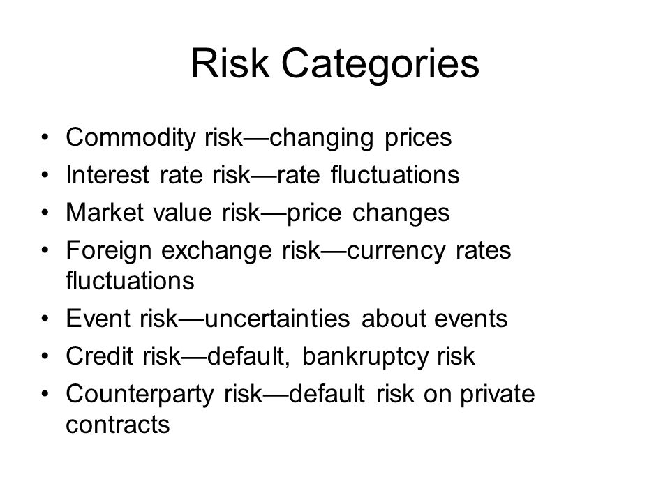 Risk Categories Commodity risk—changing prices