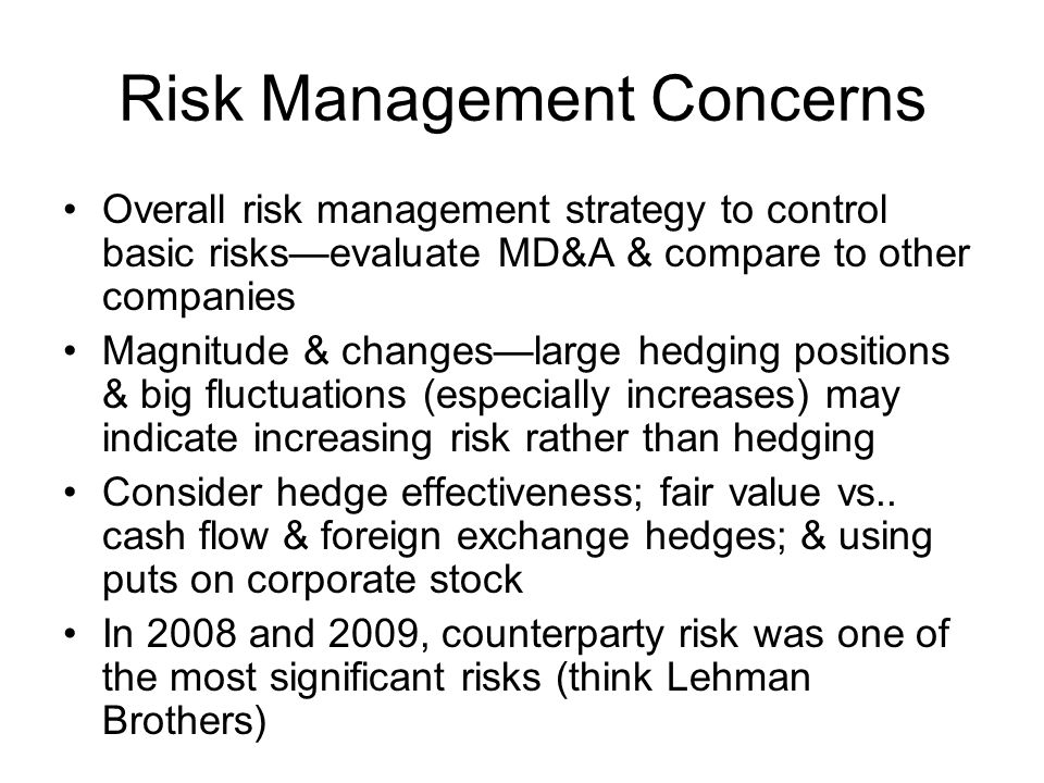 Risk Management Concerns