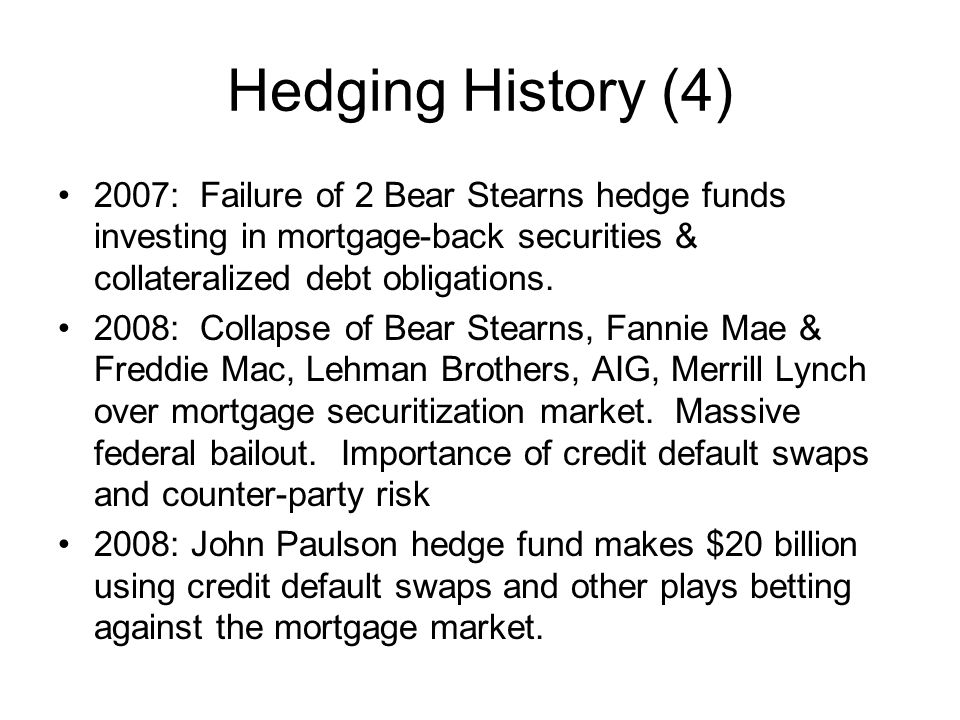 Hedging History (4) 2007: Failure of 2 Bear Stearns hedge funds investing in mortgage-back securities & collateralized debt obligations.