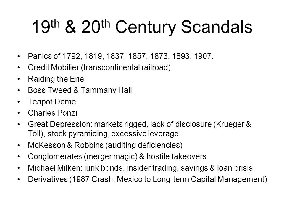 19th & 20th Century Scandals