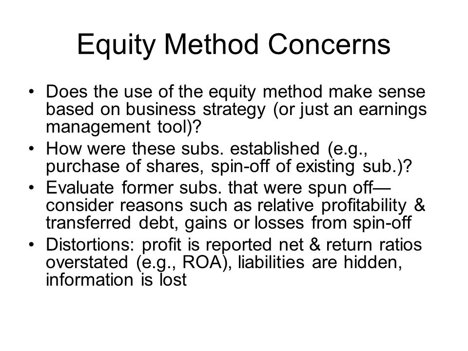 Equity Method Concerns