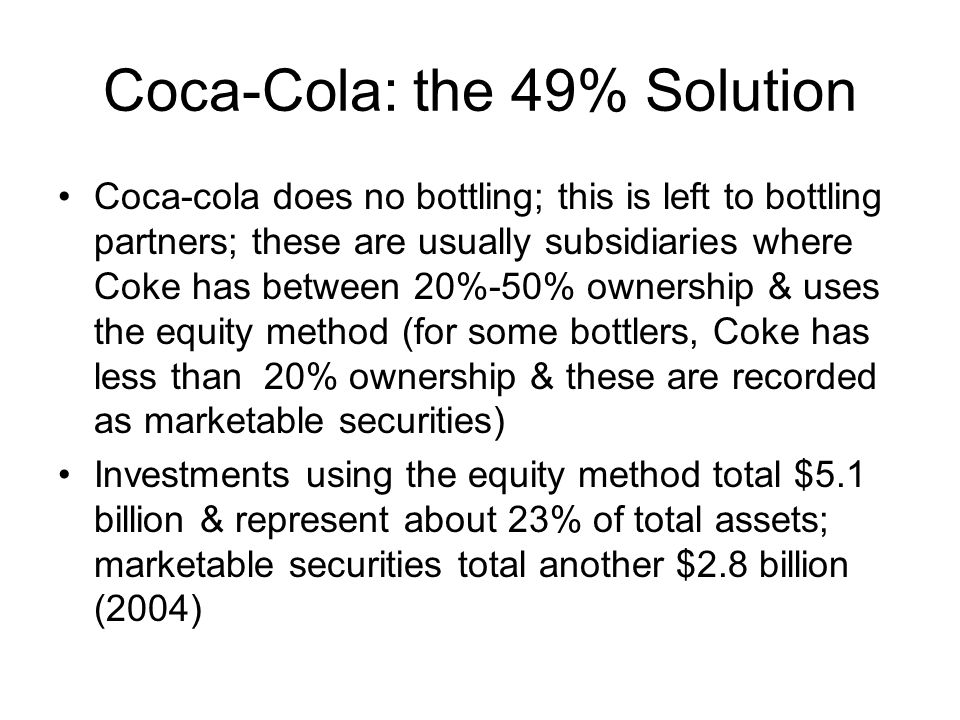 Coca-Cola: the 49% Solution
