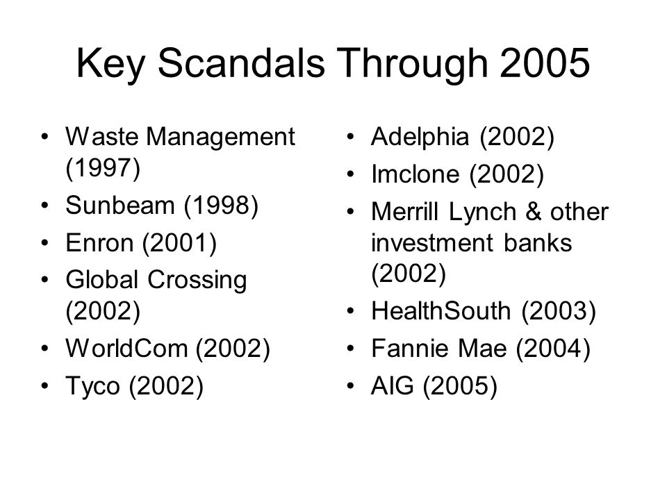 Key Scandals Through 2005 Waste Management (1997) Sunbeam (1998)