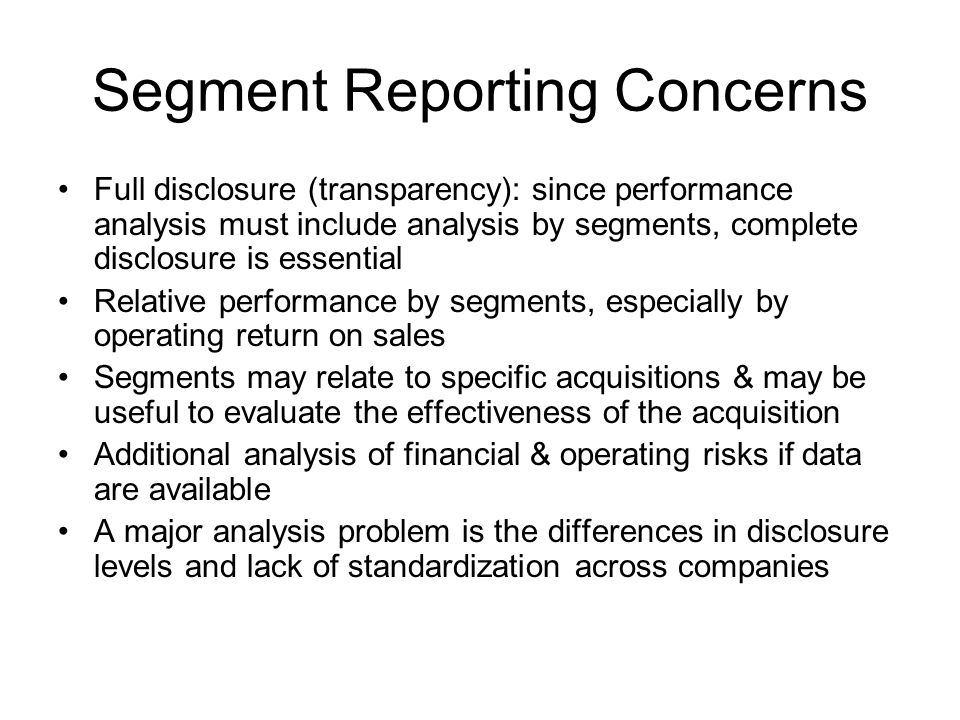 Segment Reporting Concerns