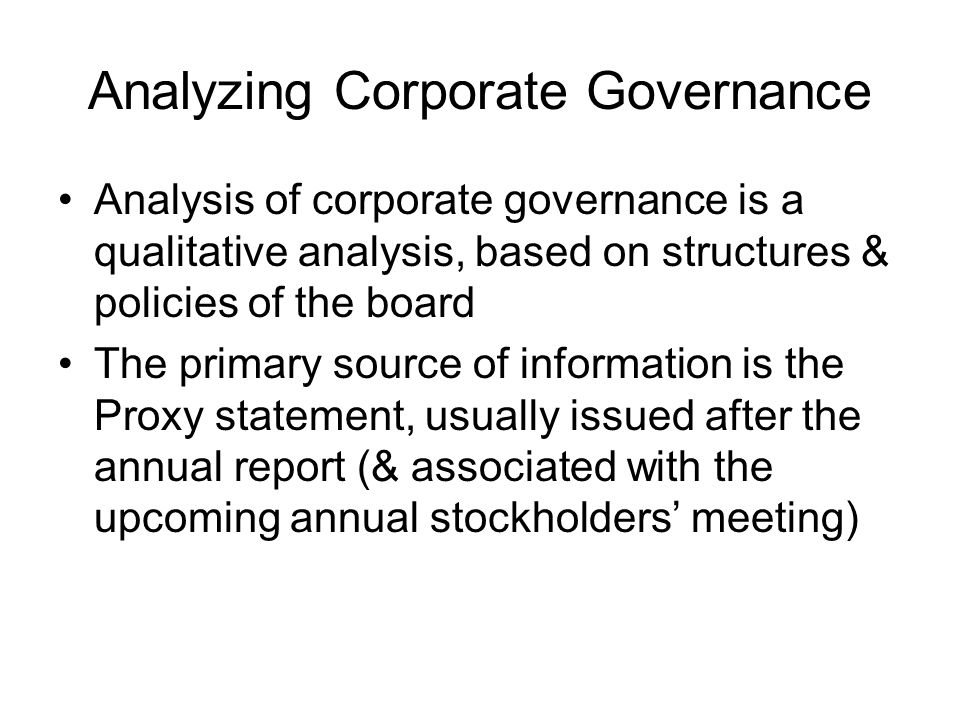 Analyzing Corporate Governance
