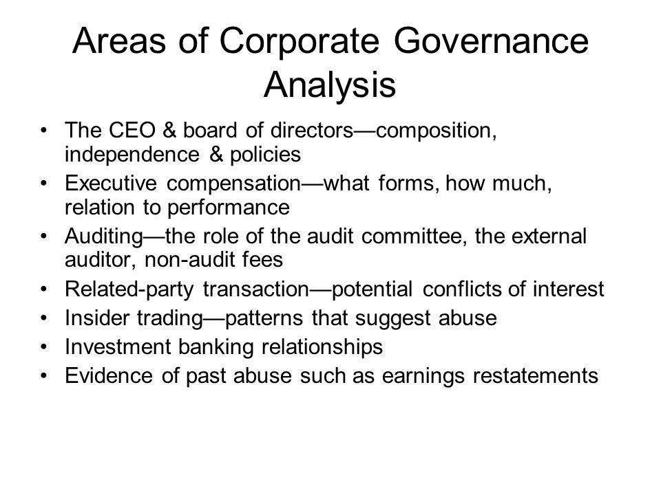 Areas of Corporate Governance Analysis