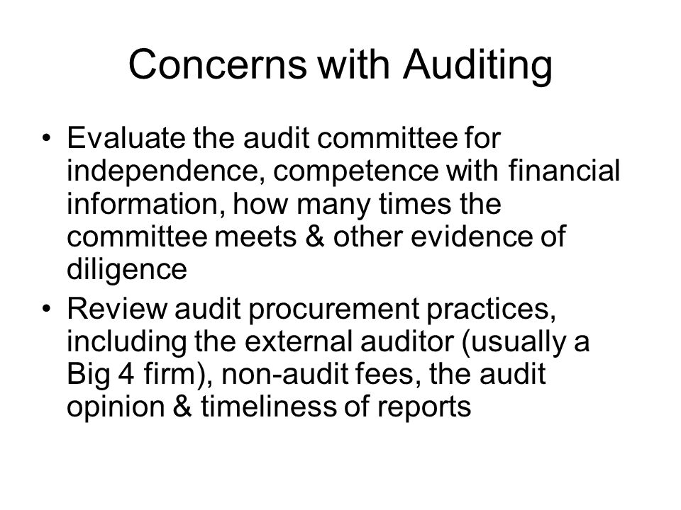 Concerns with Auditing