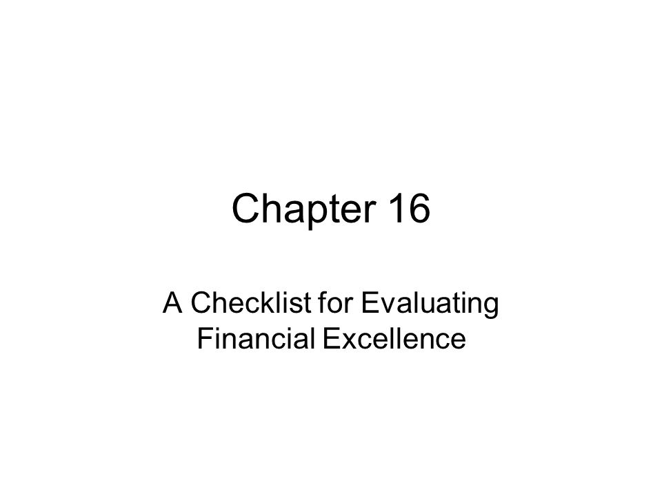 A Checklist for Evaluating Financial Excellence