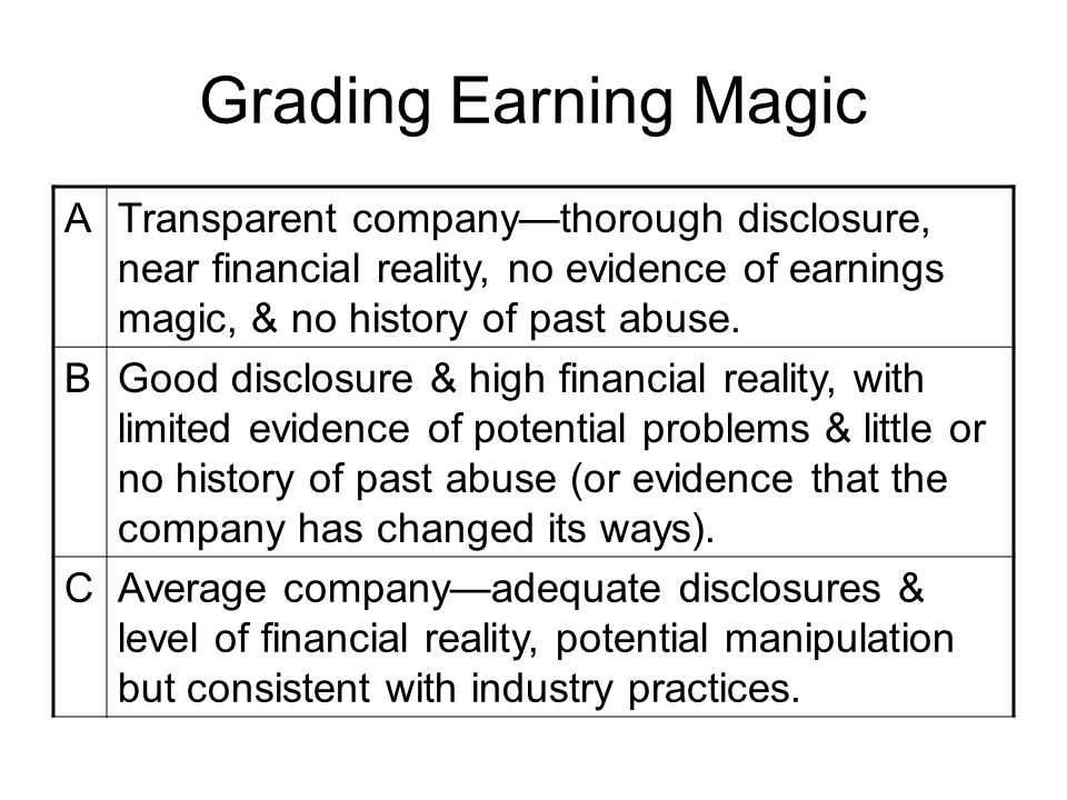 Grading Earning Magic A
