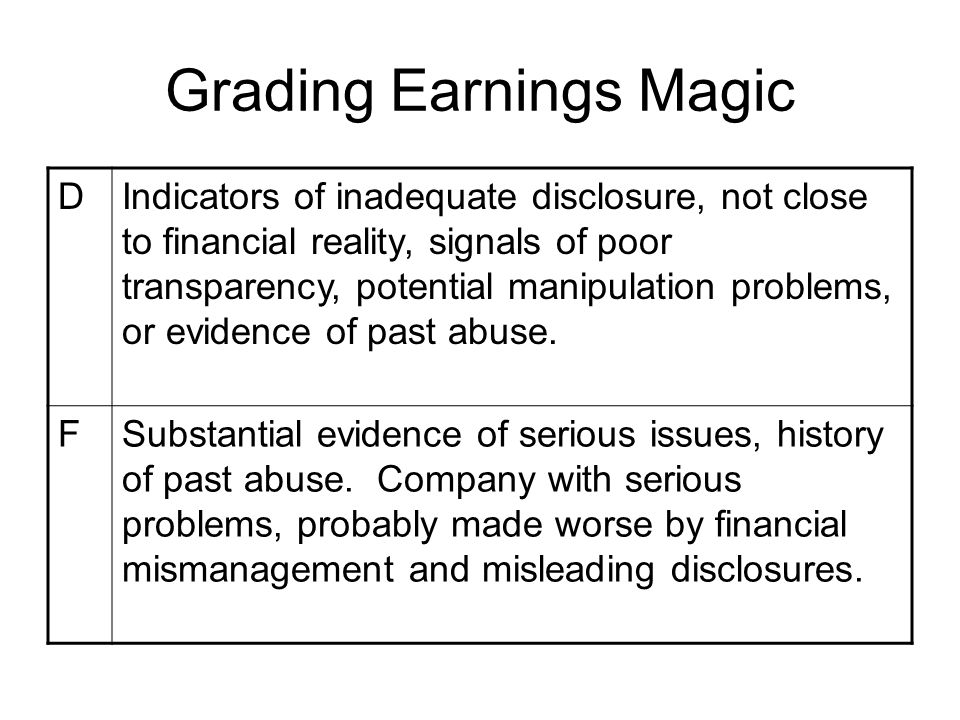 Grading Earnings Magic