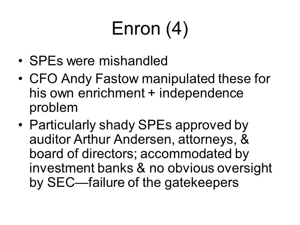 Enron (4) SPEs were mishandled