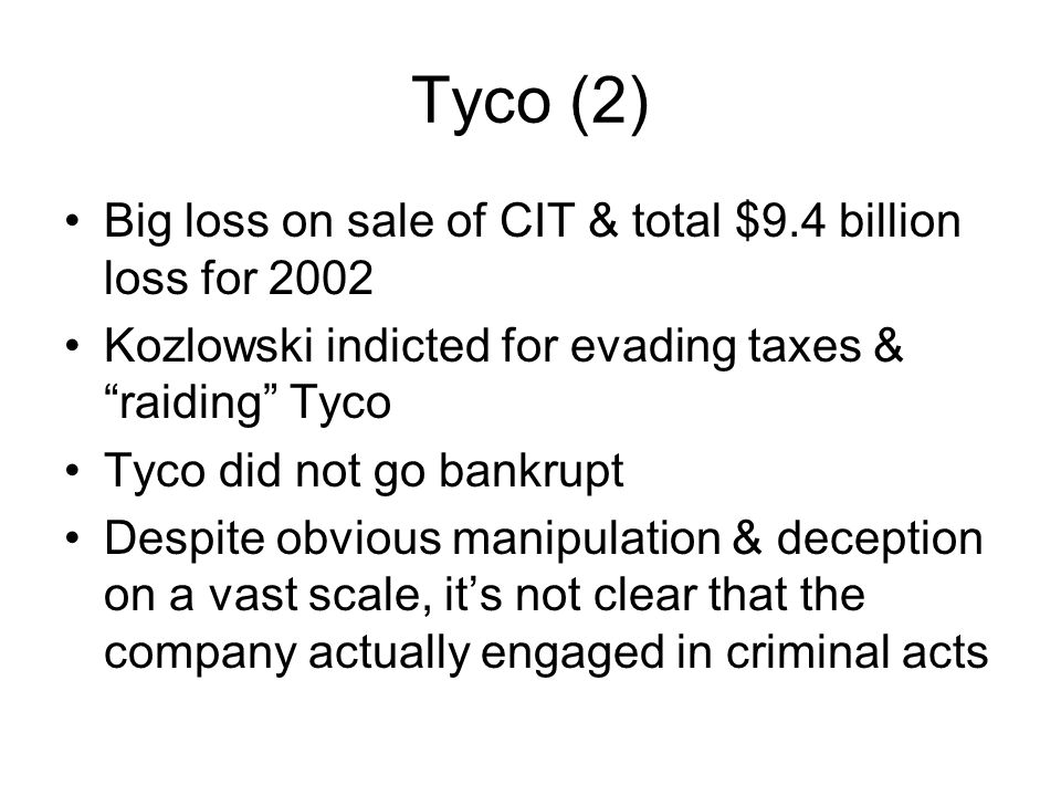 Tyco (2) Big loss on sale of CIT & total $9.4 billion loss for 2002