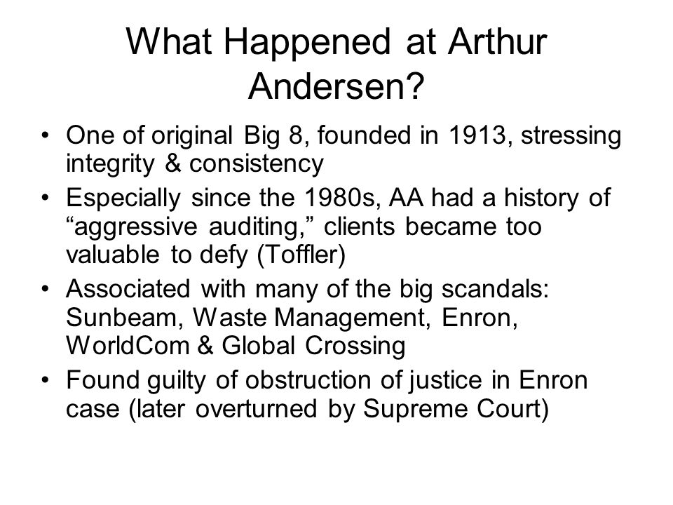 What Happened at Arthur Andersen