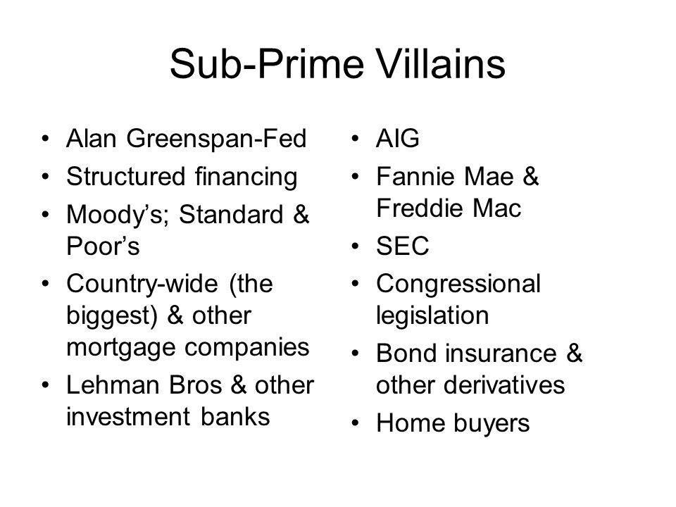 Sub-Prime Villains Alan Greenspan-Fed Structured financing