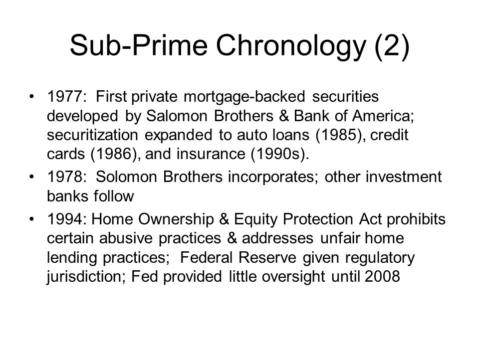 Sub-Prime Chronology (2)