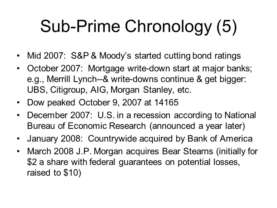 Sub-Prime Chronology (5)