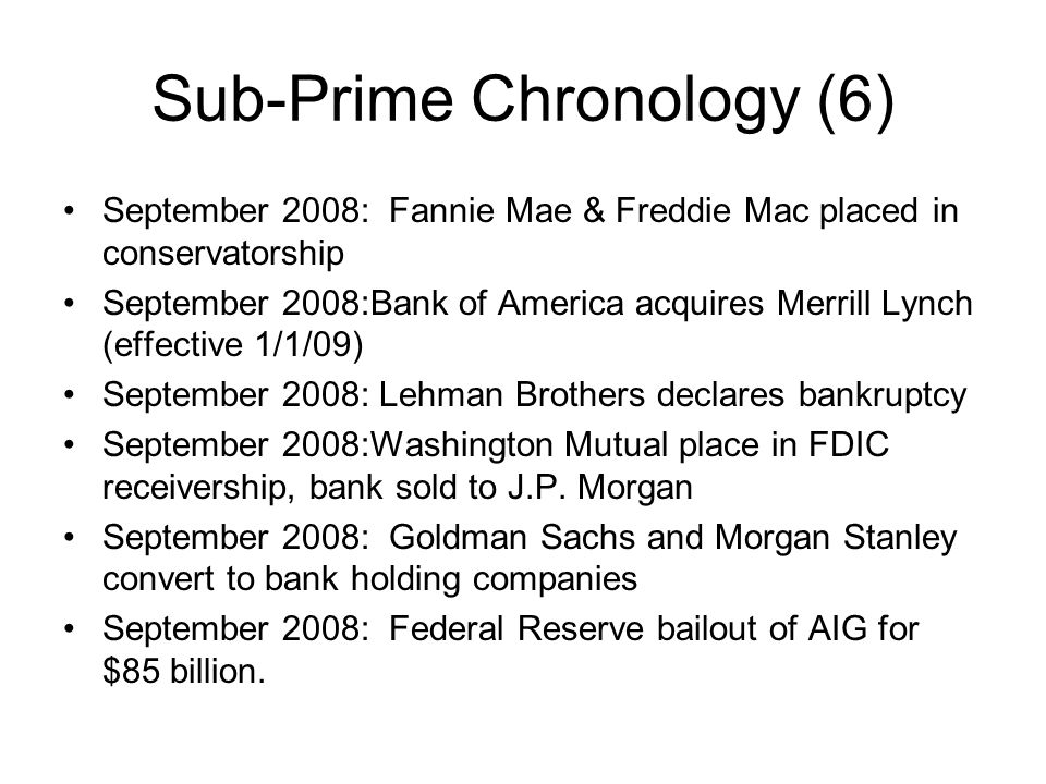 Sub-Prime Chronology (6)