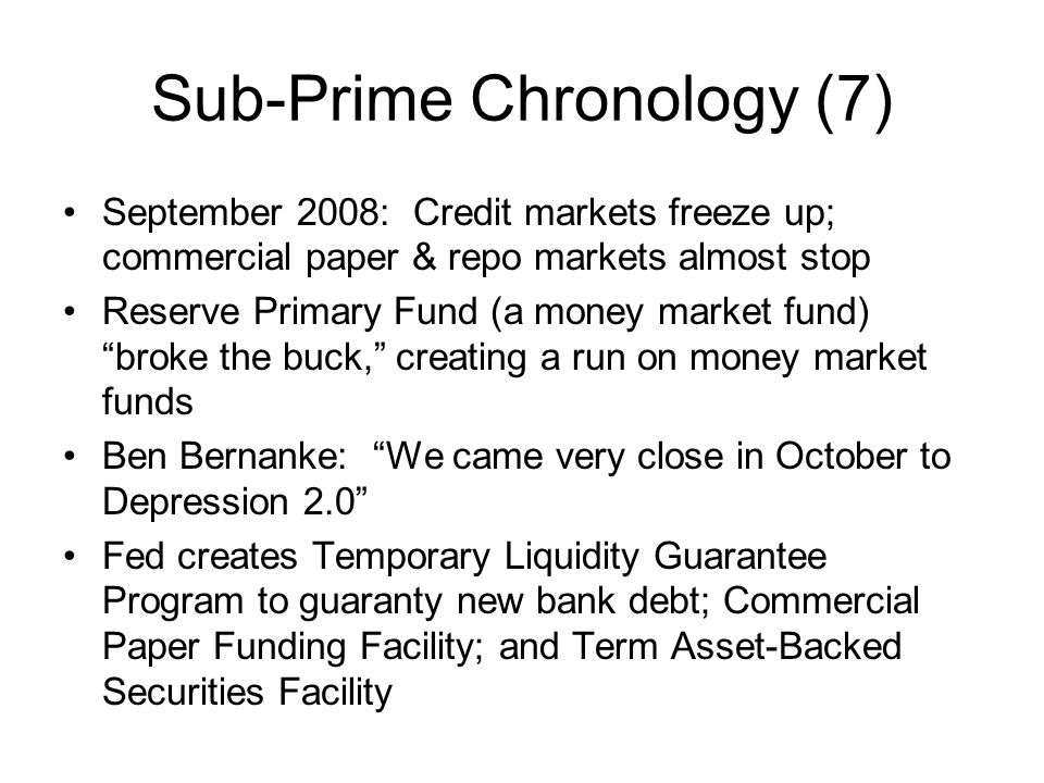 Sub-Prime Chronology (7)