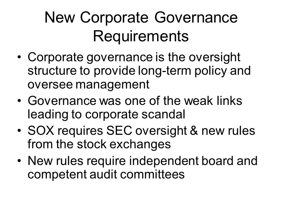 New Corporate Governance Requirements