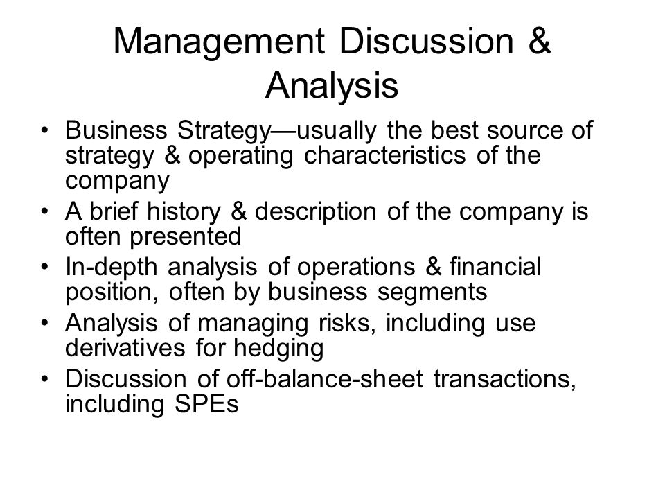 Management Discussion & Analysis