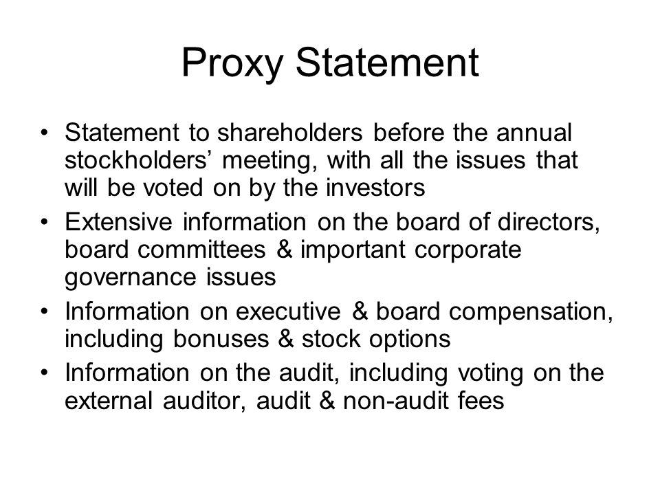 Proxy Statement Statement to shareholders before the annual stockholders' meeting, with all the issues that will be voted on by the investors.