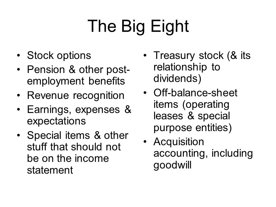 The Big Eight Stock options Pension & other post-employment benefits