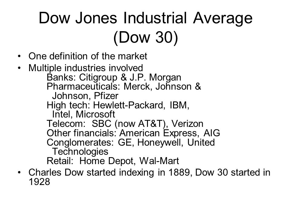 Dow Jones Industrial Average (Dow 30)