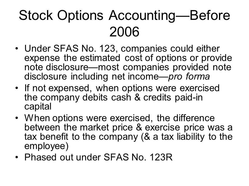 Stock Options Accounting—Before 2006