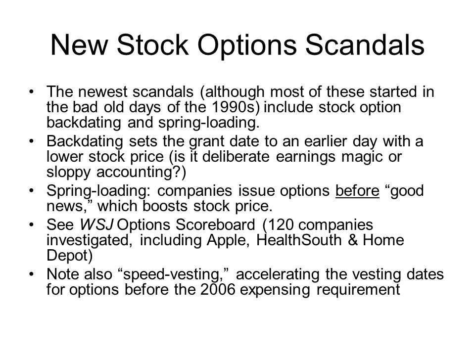 New Stock Options Scandals