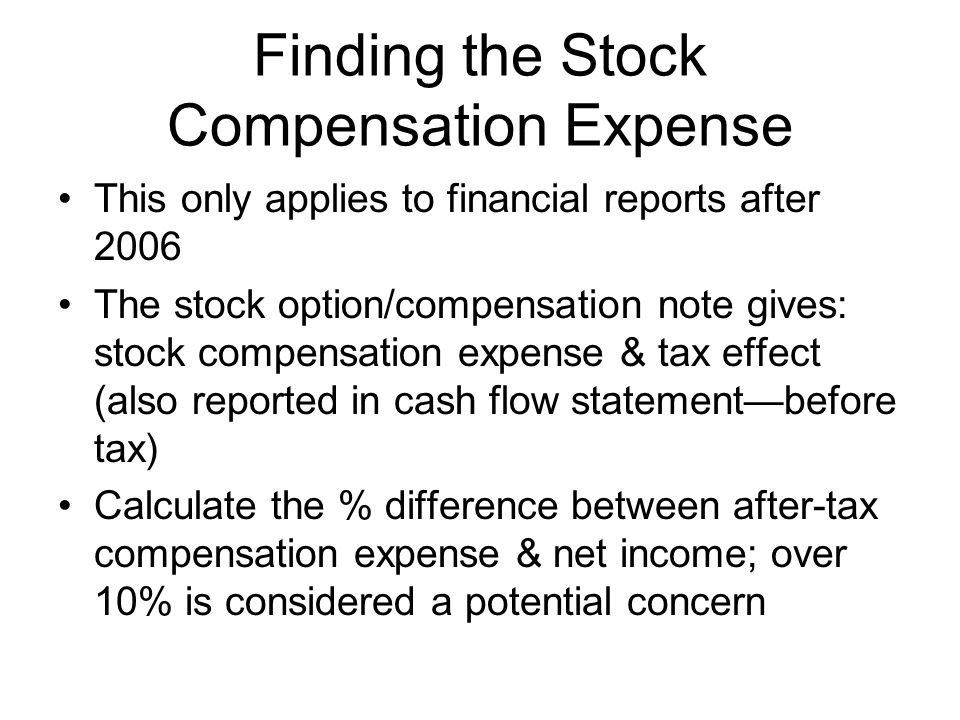 Finding the Stock Compensation Expense