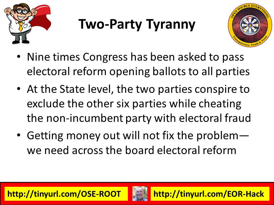 Two-Party Tyranny Nine times Congress has been asked to pass electoral reform opening ballots to all parties.