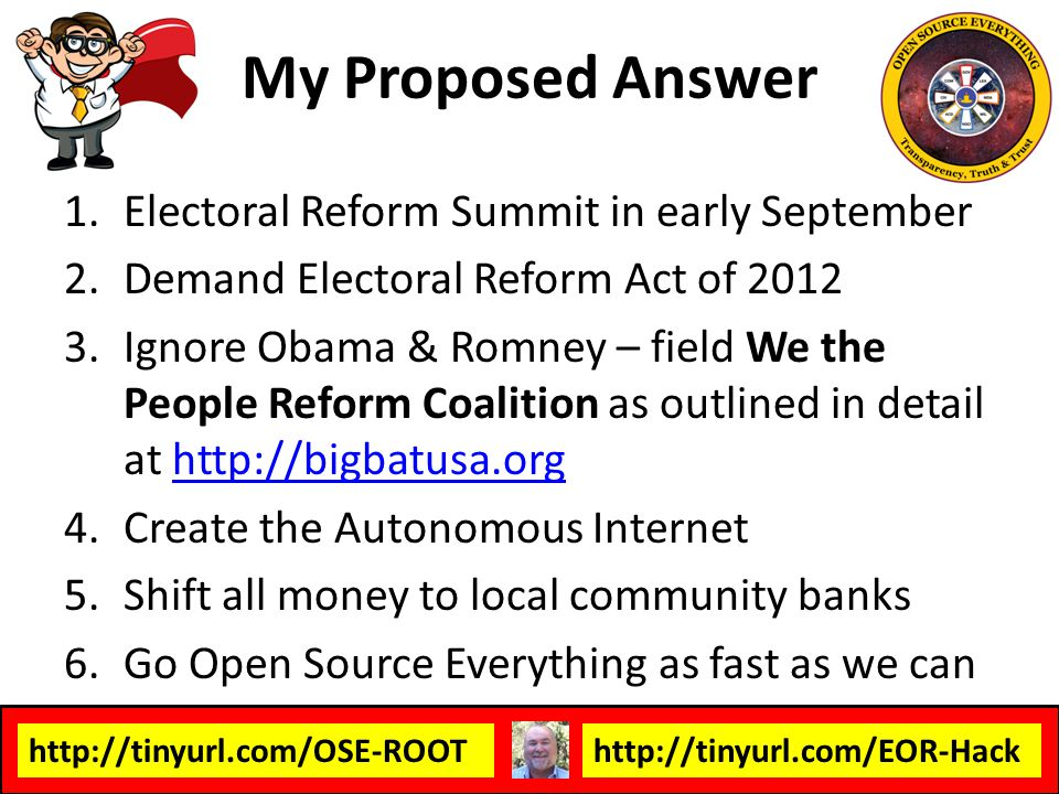 My Proposed Answer Electoral Reform Summit in early September