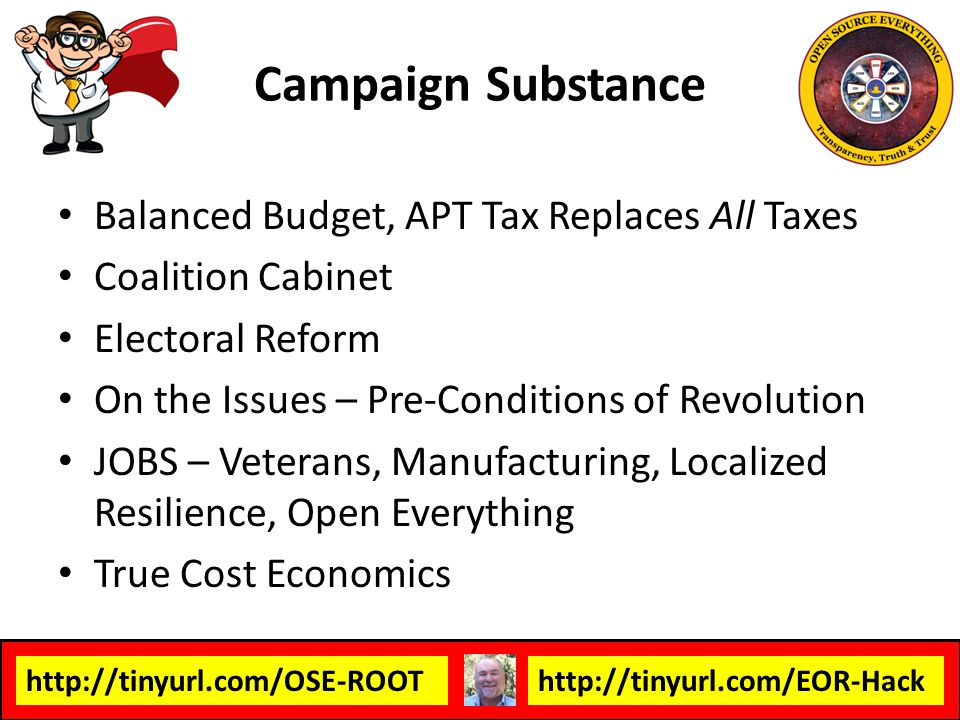 Campaign Substance Balanced Budget, APT Tax Replaces All Taxes
