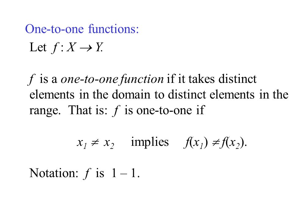 One-to-one functions: