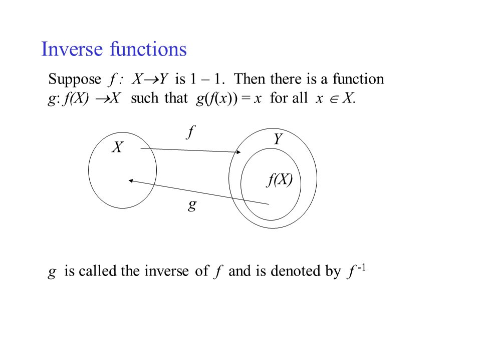 Inverse functions Suppose f : XY is 1 – 1. Then there is a function
