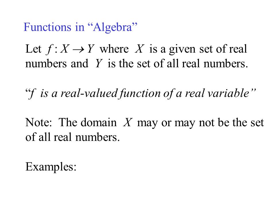 Functions in Algebra