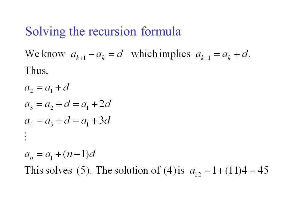 Solving the recursion formula