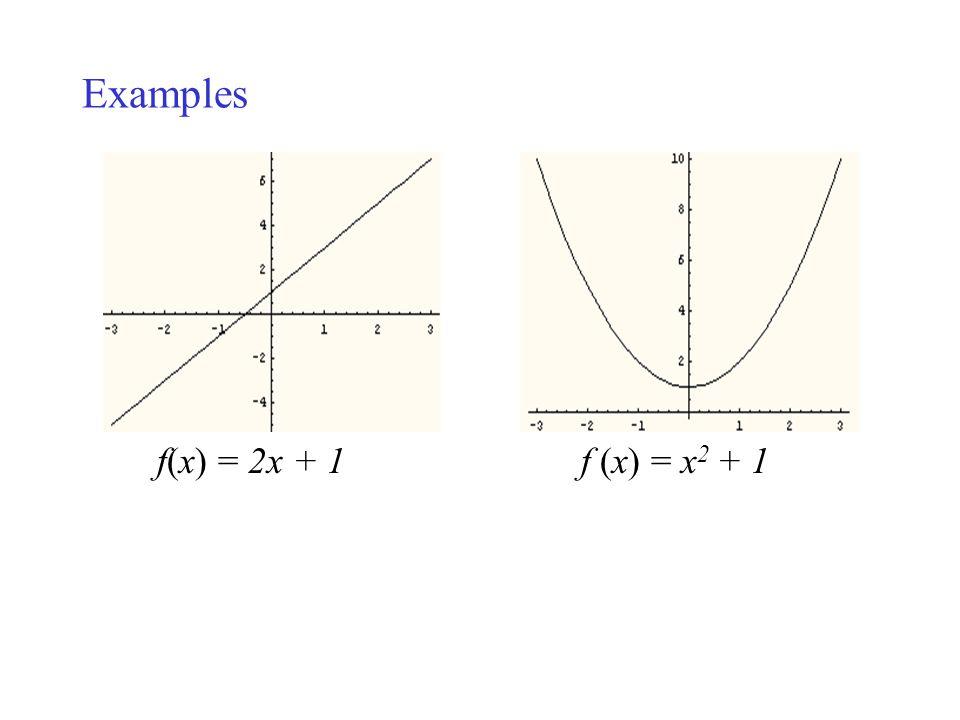 Examples f(x) = 2x + 1 f (x) = x2 + 1