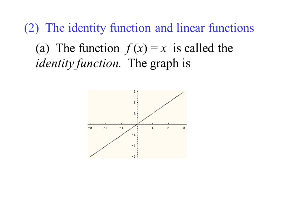 (2) The identity function and linear functions