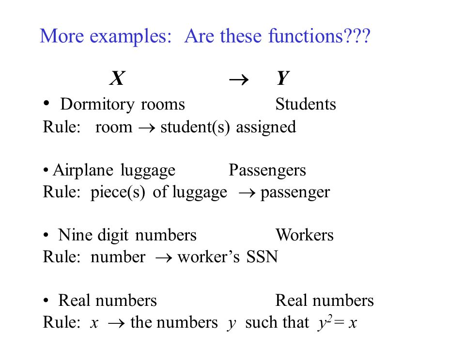 More examples: Are these functions